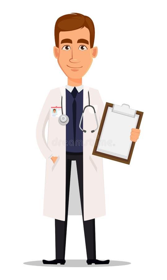 Doctor profesional joven que sostiene el tablero en blanco stock de ilustración