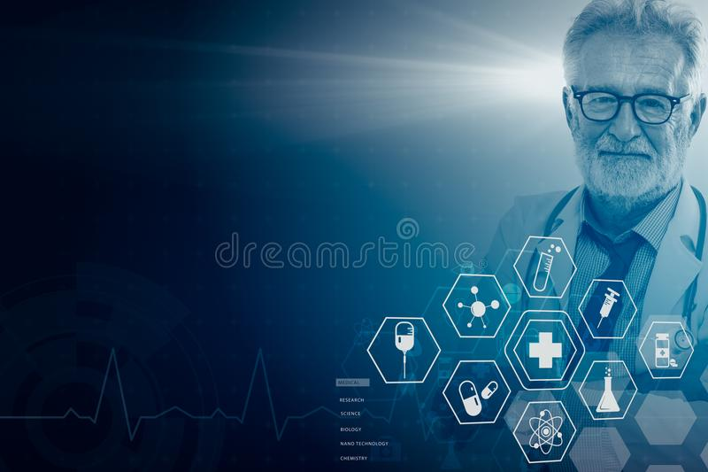 Doctor professional overlay with Modern Science Medical Healthcare graphic icon illustration background. Professional Doctor smile overlay with Modern Science royalty free stock image