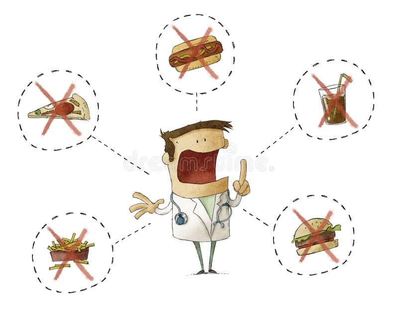 Doctor prohibiting junk food royalty free illustration