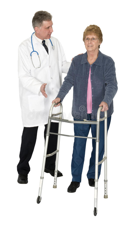 Doctor Patient Senior Woman, Walker, Isolated stock images