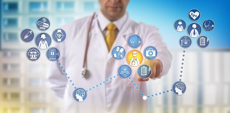 Doctor Providing Specialty Telemedicine Remotely royalty free illustration