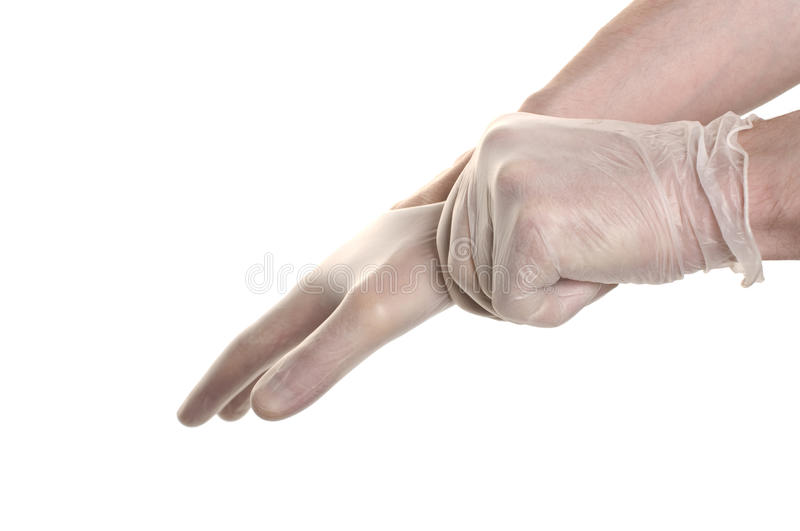 Doctor Pulling On Surgical Glove Stock Photography