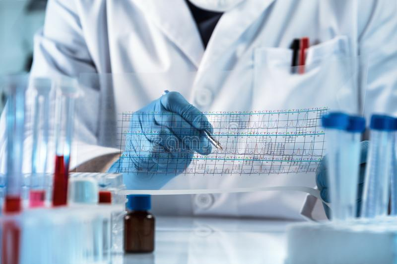 Doctor que analiza el gráfico del análisis de los resultados de la secuencia de la DNA fotos de archivo
