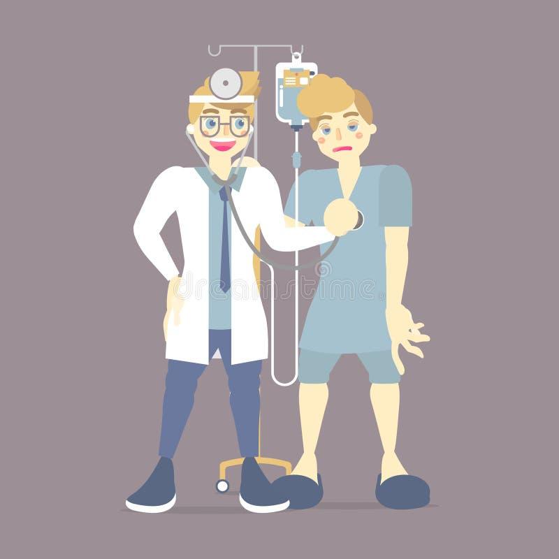 doctor que comprueba, presión arterial de medición que cuida para el paciente con IV el bolso intravenoso, salino, atención sanit ilustración del vector