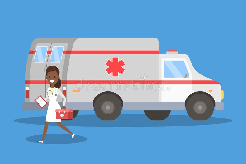 Doctor que corre delante del coche de la ambulancia ilustración del vector