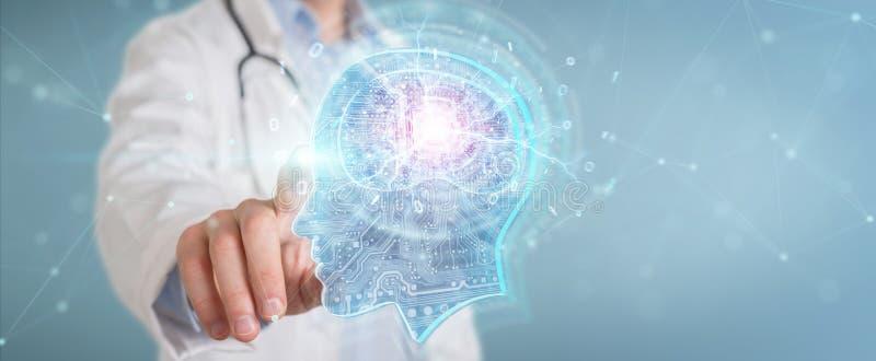 Doctor que crea la representación del interfaz 3D de la inteligencia artificial