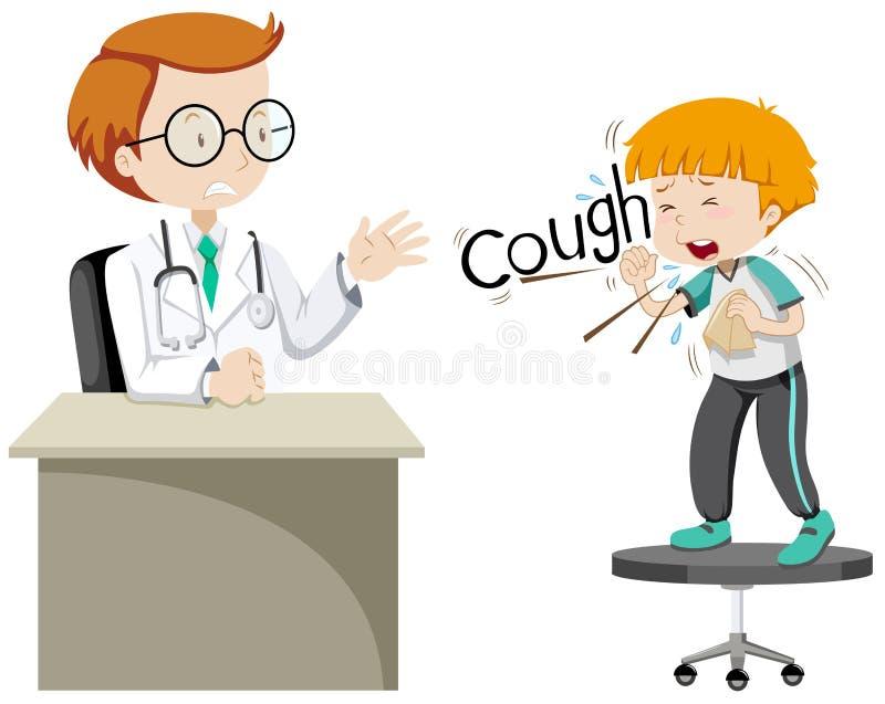 Doctor que da el tratamiento al muchacho enfermo stock de ilustración