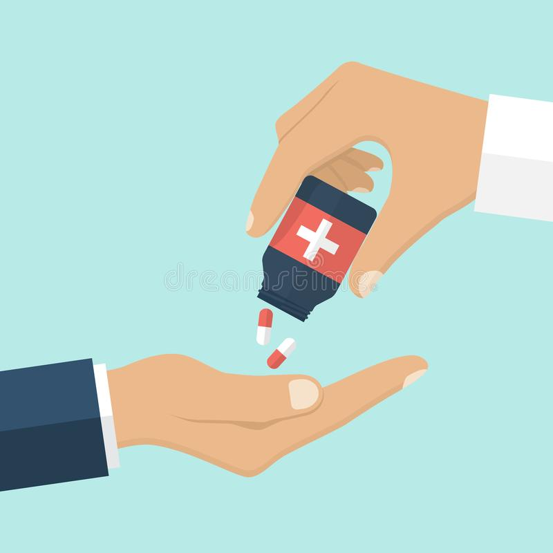 Doctor que da las píldoras pacientes libre illustration