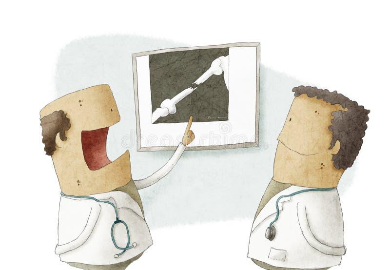 Doctor que muestra la imagen de la radiografía a otro doctor libre illustration