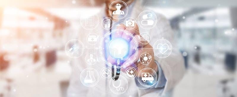 Doctor que usa la representación futurista médica digital del interfaz 3D stock de ilustración