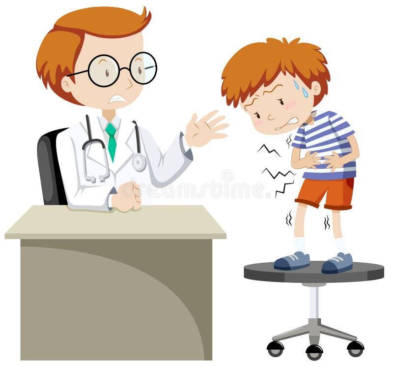 Doctor que visita del muchacho enfermo stock de ilustración