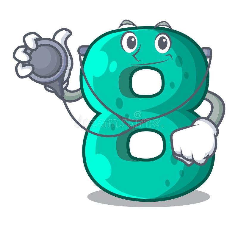 Doctor raster version cartoon shaped Number Eight. Vector illustration stock illustration