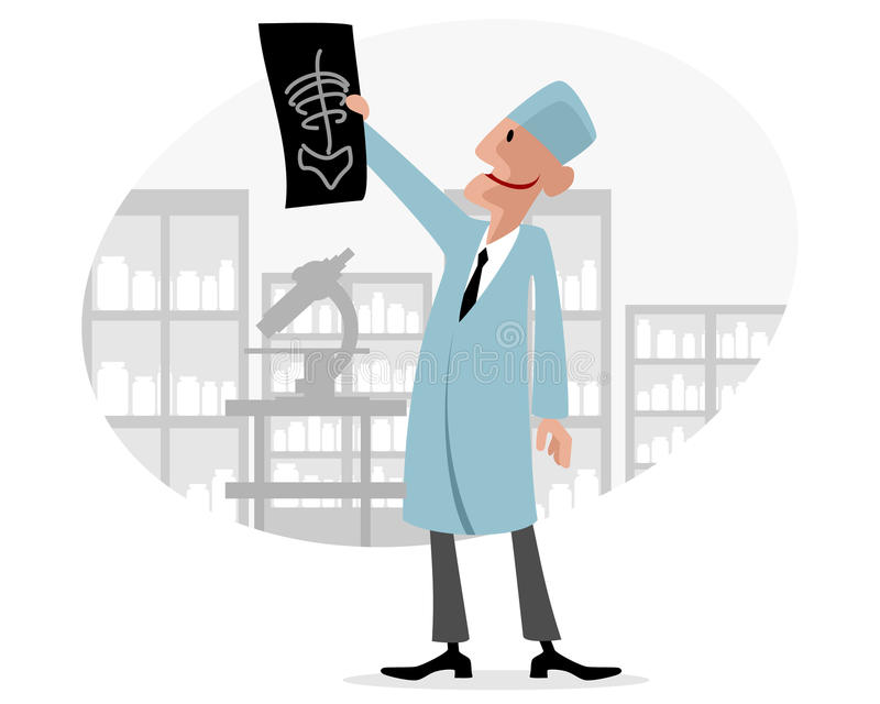 Doctor with X-ray. Vector illustration of a doctor with X-ray vector illustration