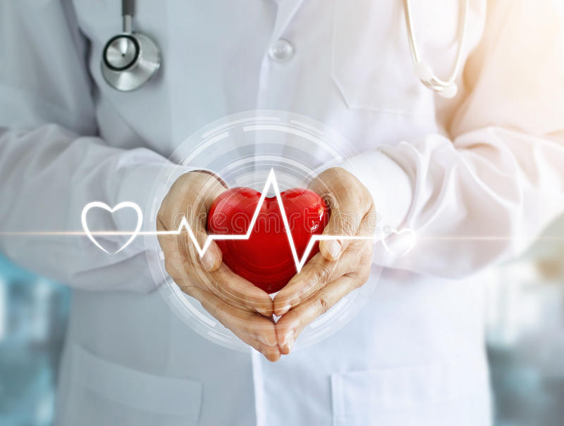 Doctor with red heart shape and icon heartbeat royalty free stock photos