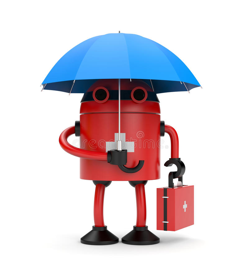 Download Doctor robot with umbrella stock illustration. Image of illustration - 24316386