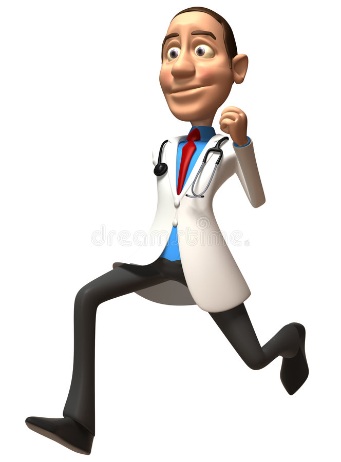 Doctor running stock illustration