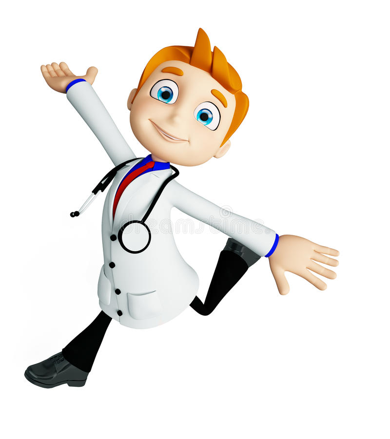 Doctor with running pose. 3d illustration of doctor with running pose vector illustration