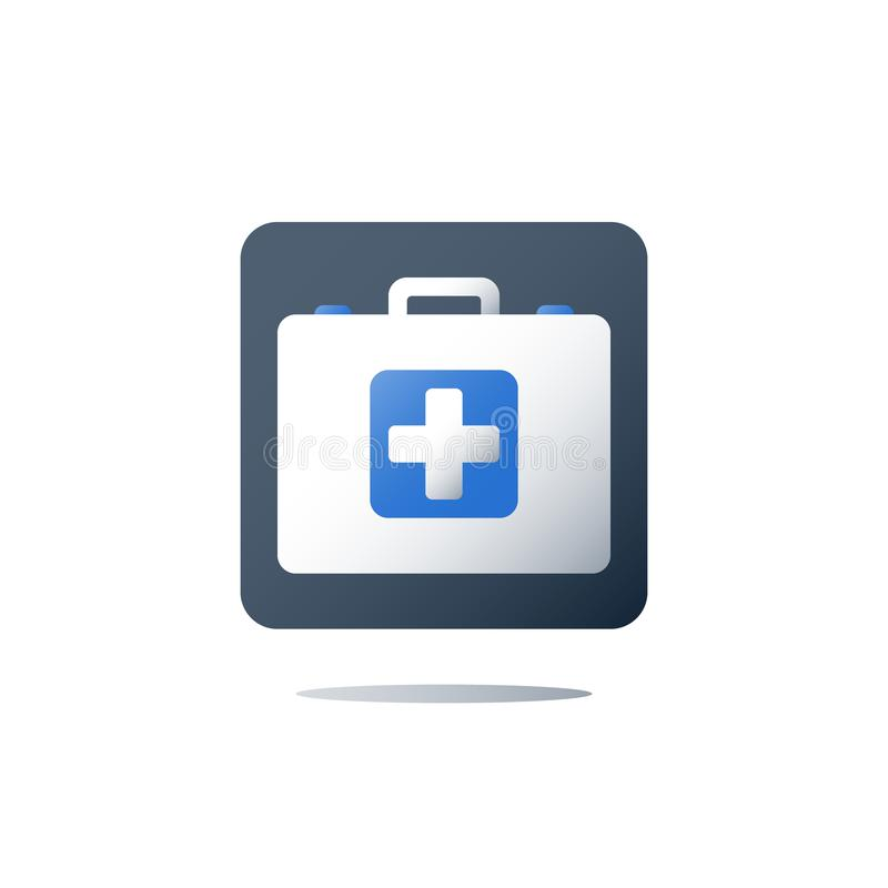 First aid kit, doctor`s bag, medical services, health care policy, healthcare insurance. Doctor`s bag, medical services, health care policy, first aid kit royalty free illustration