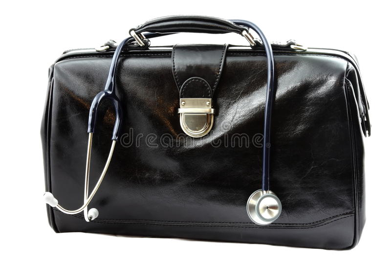 Doctor's bag with stethoscope stock photos