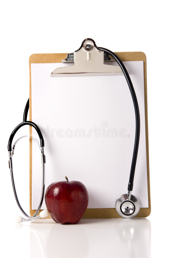 Free Doctor S Clipboard With An Apple And A Stethoscope Royalty Free Stock Photos - 6490338