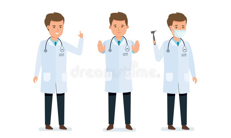 Doctor`s consultation, prevention, treatment, patient research, doctor gestures calms, helps. Set of character medical doctor. Healthcare and medical help vector illustration