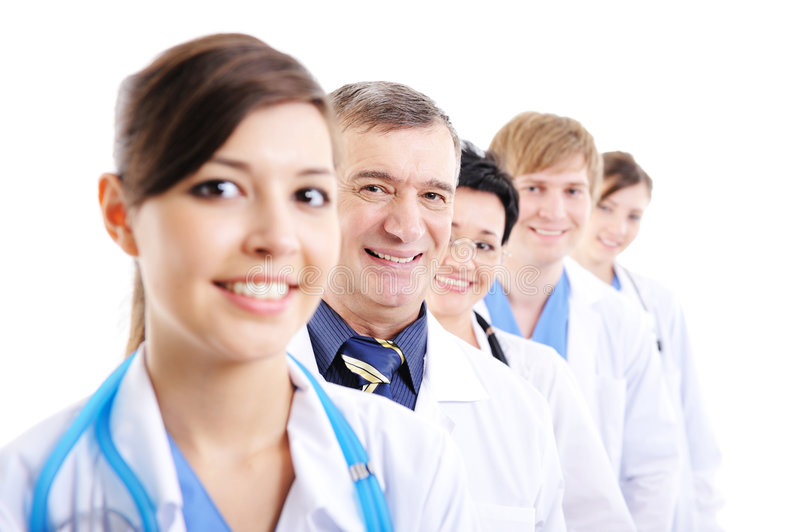 Doctor's faces looking at camera stock photo