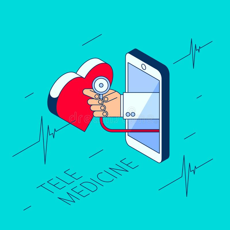 Doctor`s hand is holding stethoscope and checking heart pulse. Doctor`s hand holding a stethoscope. Through the phone screen checking heart pulse. Isometric 3d royalty free illustration