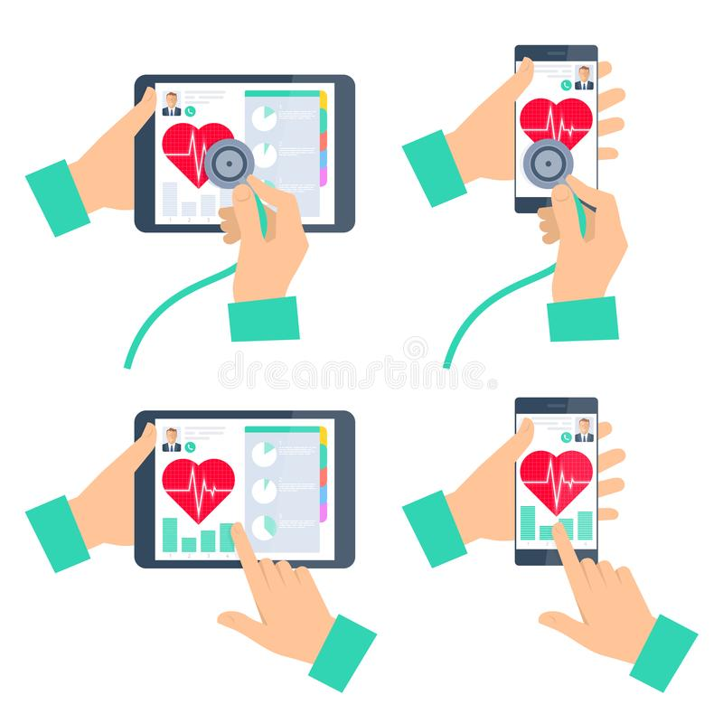 Doctor`s hand holding stethoscope and checking heartbeat. Doctor`s hand holding stethoscope and checking heartbeat on the digital tablet screen. Medic online vector illustration
