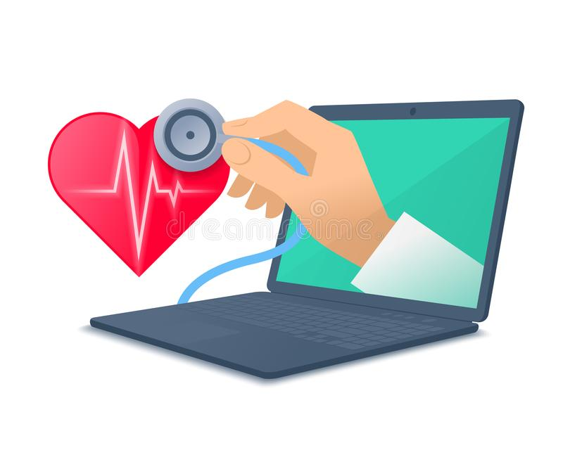 Doctor`s hand holding stethoscope through the laptop screen chec. Laptop, red heart shape, pulse line, doctor`s hand holding a stethoscope. Medic through the stock illustration