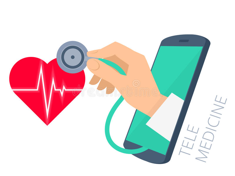 Doctor`s hand holding stethoscope through the phone screen check stock illustration