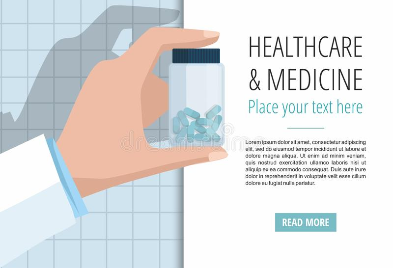 Doctor`s hand showing pills bottle. Vector banner template vector illustration