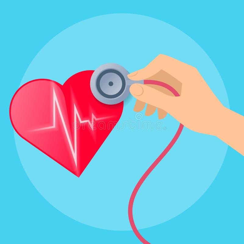 Doctor`s hand with stethoscope and heart with pulse line. Doctor`s hand listens to the patient`s heartbeat. Concept medical illustration of human hand with vector illustration