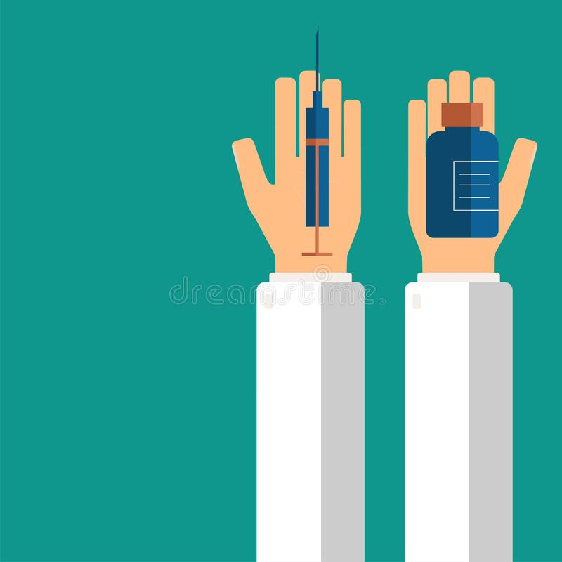 Doctor`s hands holding syringe and pills in bottle for his patient. Healthcare concept. Vector illustration stock images