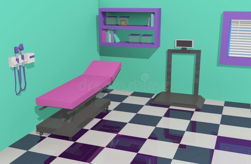 Doctor& x27; sala do exame do escritório de s com equipamento acessível ilustração royalty free