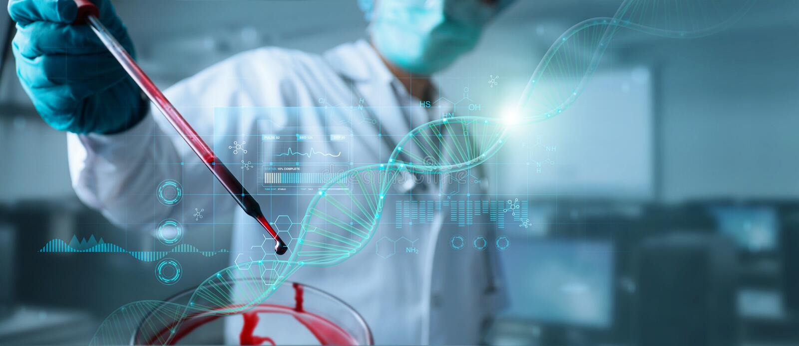 Doctor, Scientist analysis and diagnose checking blood testing result and virus infection on modern virtual interface, Healthcare. And virus spreading data royalty free stock photography