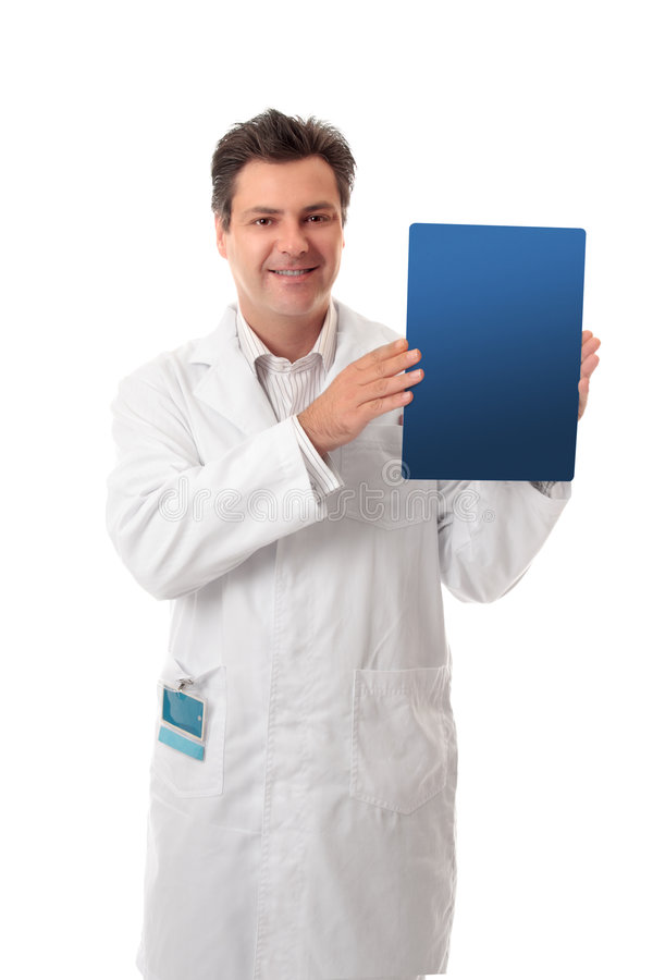 Doctor scientist holding brochure