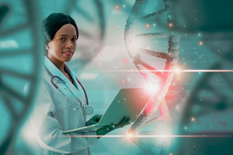 Doctor or scientist holding laptop compute analysis DNA structure molecule chain,concept medical and genetics,3d rendering. Soft focus-doctor or scientist stock image