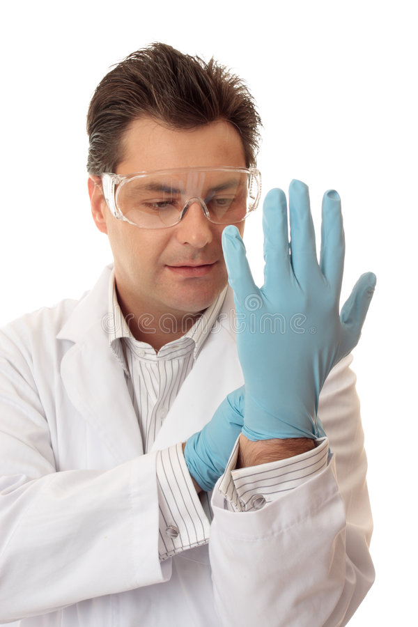 Doctor or scientist nitrile gloves royalty free stock photography