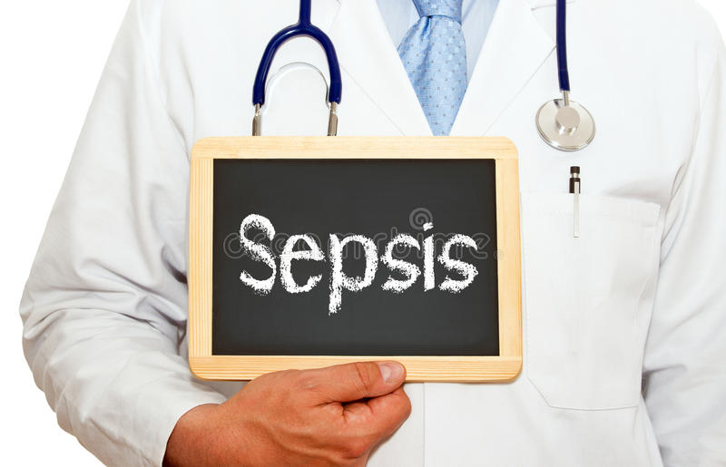 Doctor with sepsis chalkboard stock photos