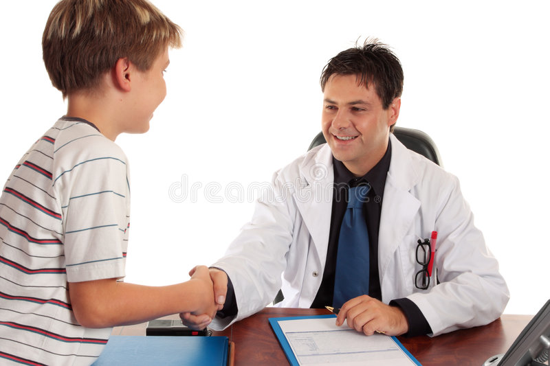Doctor shaking hands stock photos
