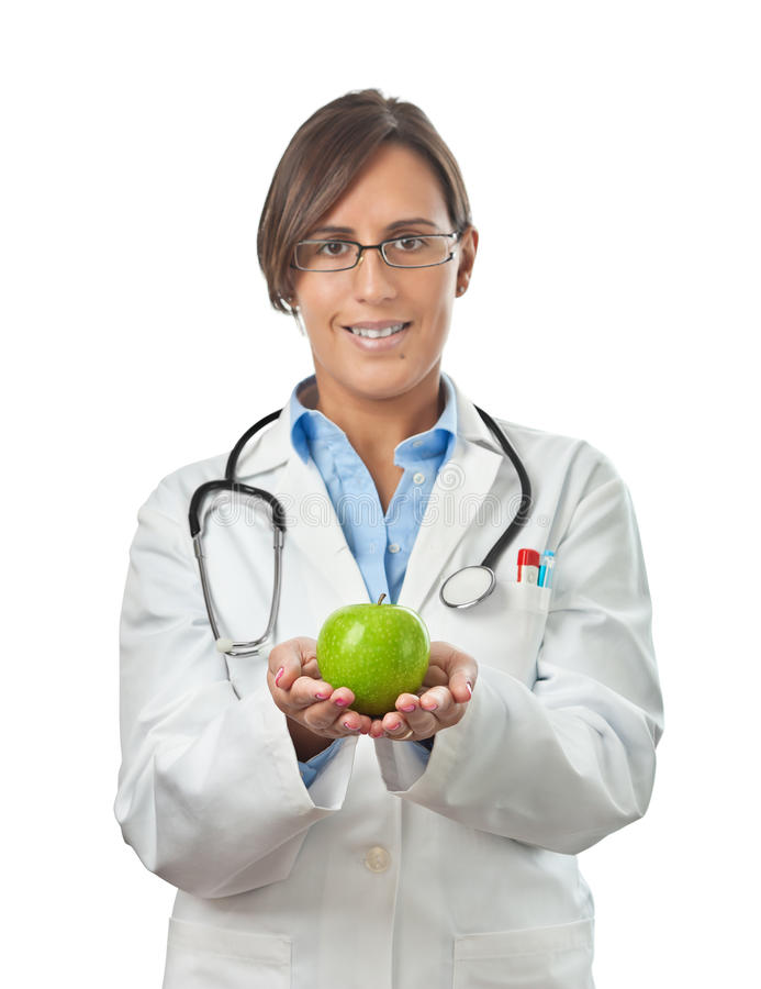 Download Doctor Showing An Apple With Both Hands Stock Image - Image of coat, labcoat: 21963587