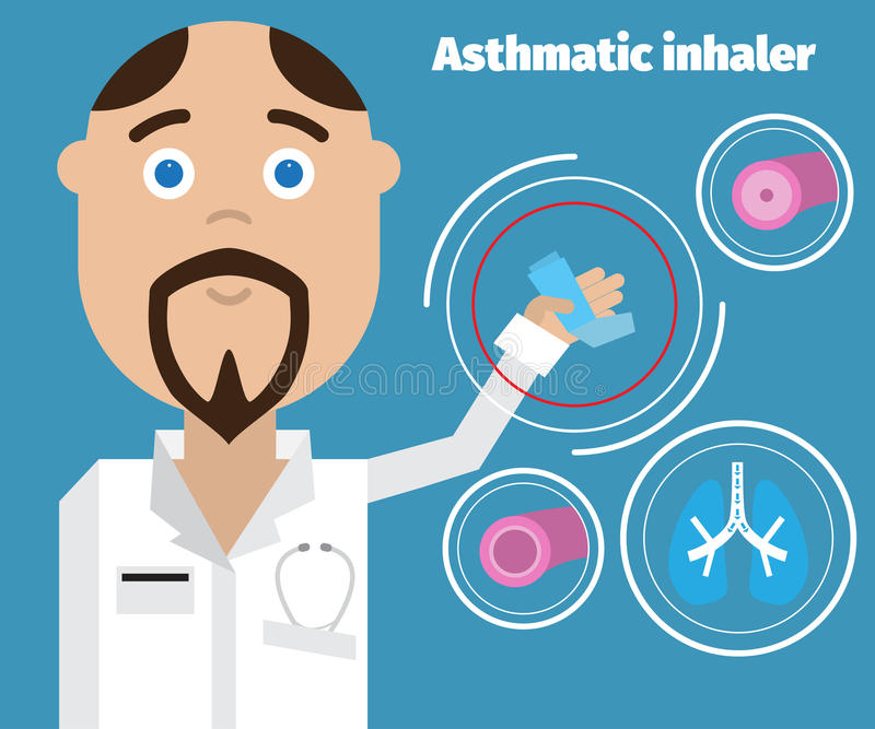 Doctor showing an asthma inhaler. Asthma Medical poster. Vector doctor royalty free illustration