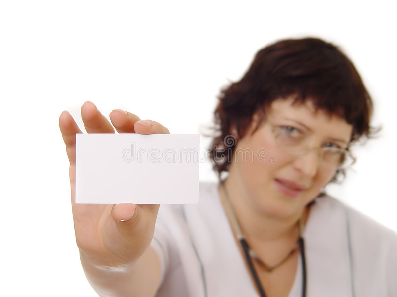 Doctor showing blank card stock photos