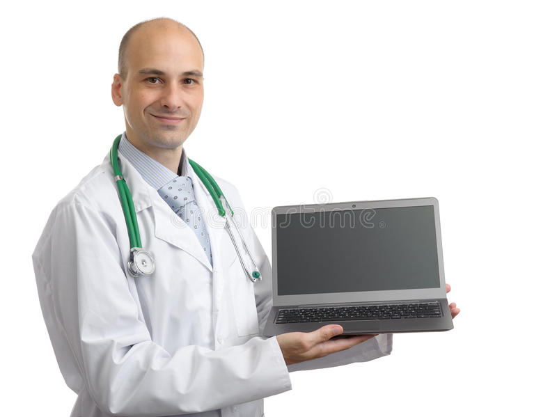Doctor showing blank laptop screen royalty free stock image
