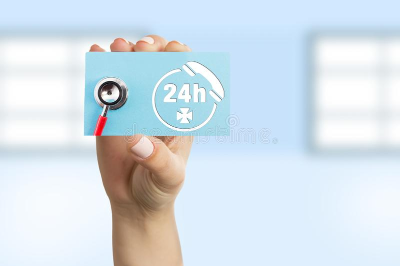 Doctor showing card as contact concept royalty free stock photo