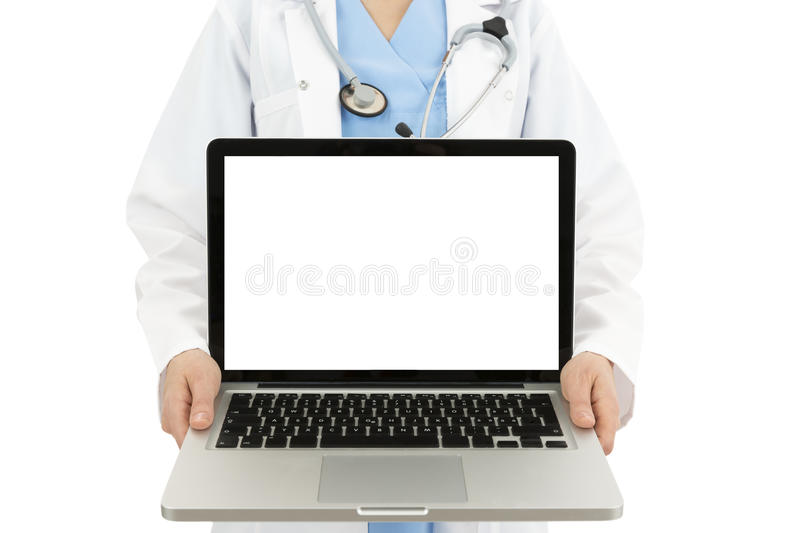 Doctor showing laptop with copy space. Hospital worker holding a laptop to show copy space. Isolated on white background royalty free stock photos