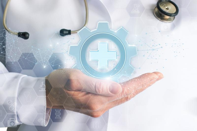 Doctor showing medical equipment icon . Doctor showing medical equipment icon on blue background stock photos