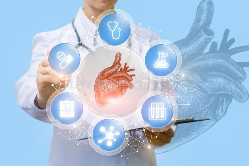 A doctor is showing a medical scheme consisting of a pulsing heart inside the circle of medical symbols . A doctor is showing a medical scheme consisting of a stock images