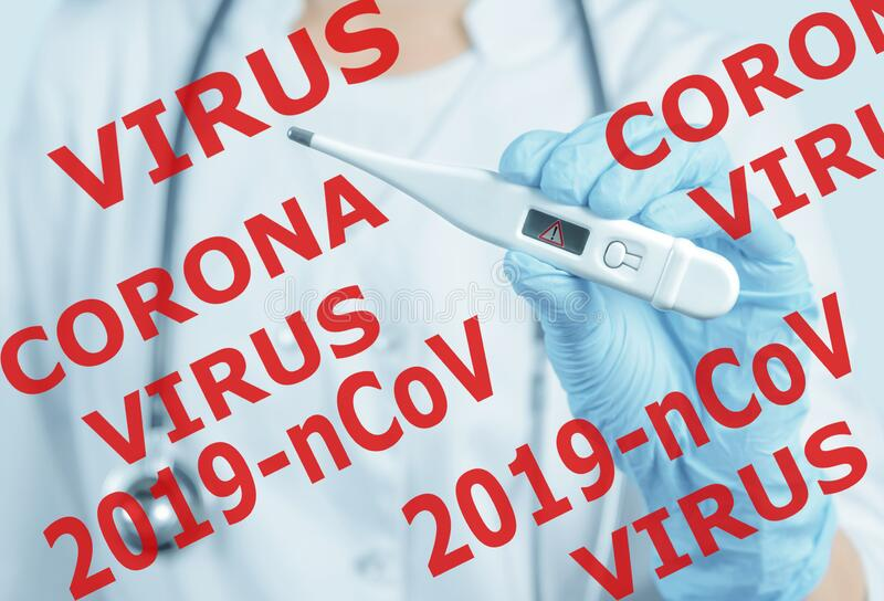 Doctor showing thermometer with danger sign, 2019-nCov coronavirus. royalty free stock image