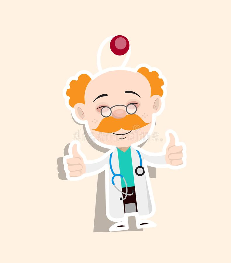 Download doctor showing thumbs up sticker vector stock vector illustration of comic design